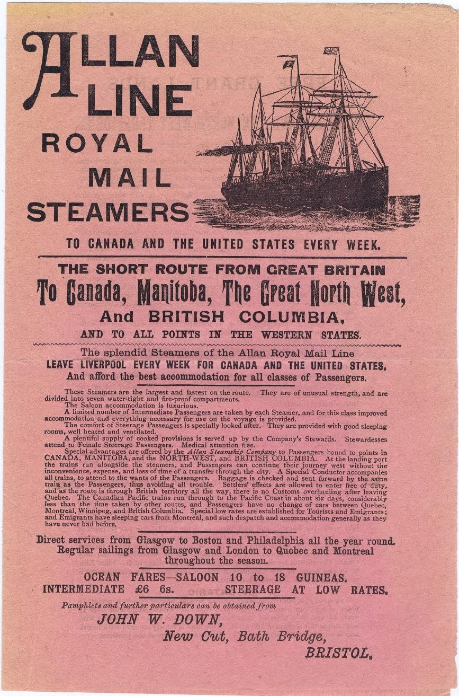 Allan Line promotional flyer, 1890s