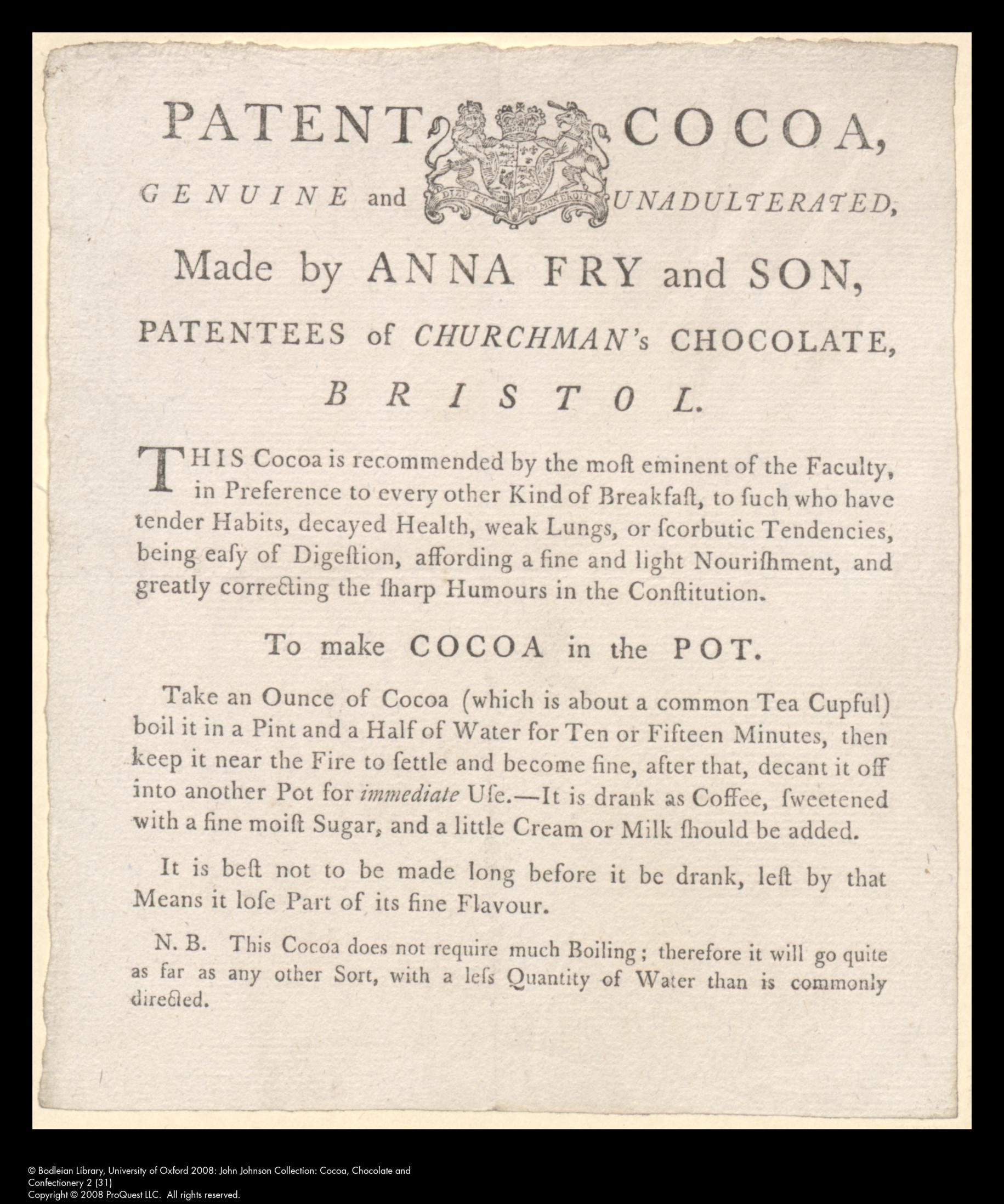 Patent cocoa. Handbill of Anna Fry