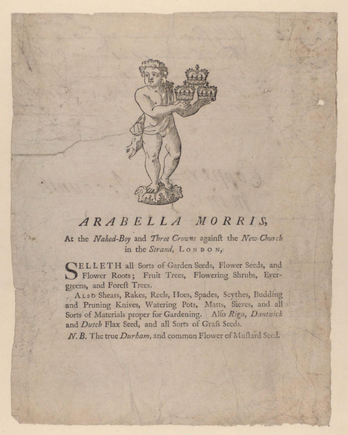 Trade card of Arabella Morris, 1748.