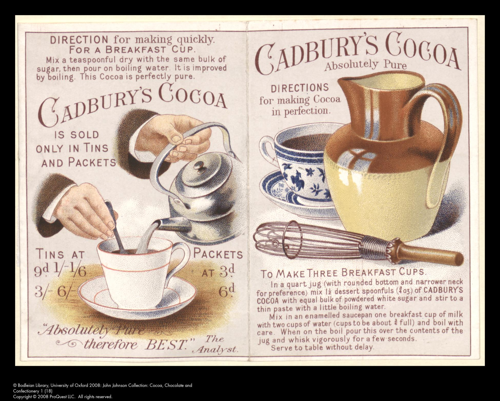 Directions for making ... Cadbury's cocoa.