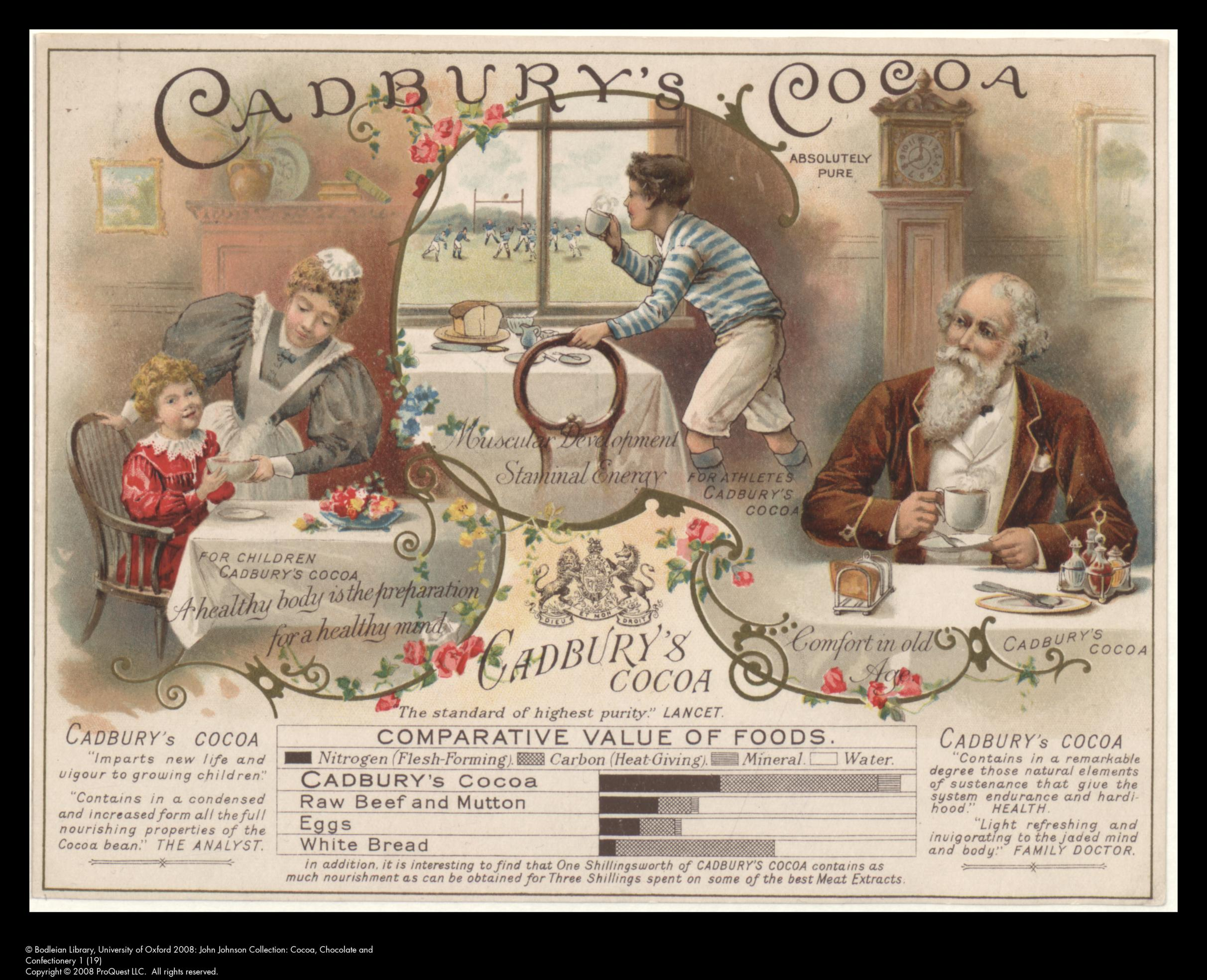 Cadbury's Cocoa advertisement with nutritional table