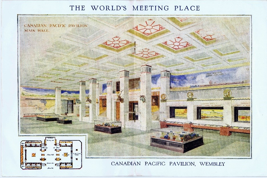 Centre spread of Canadian Pacific brochure, showing the Canadian Pacific Pavilion, Wembley
