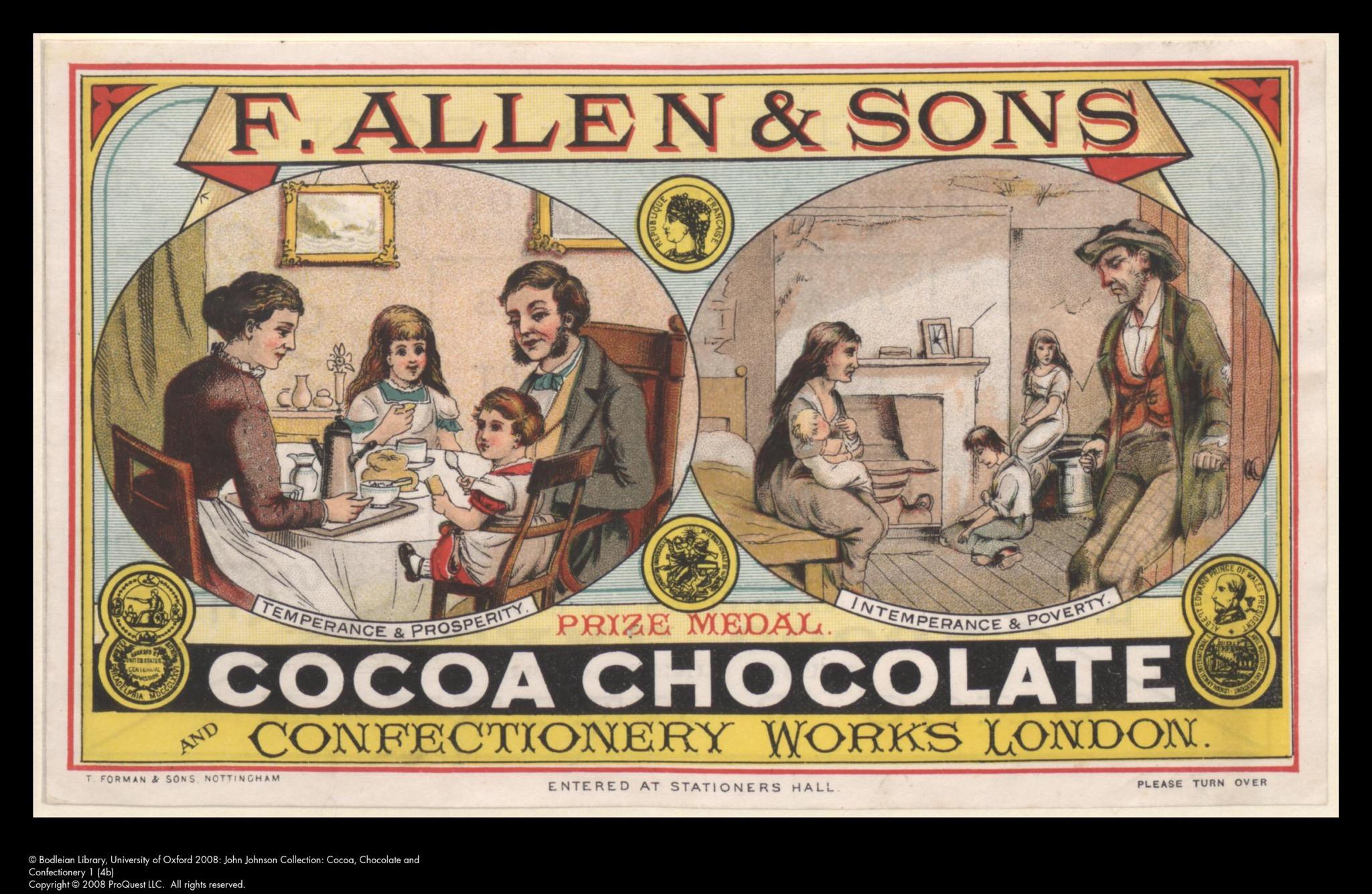 F. Allen cocoa advertisement.