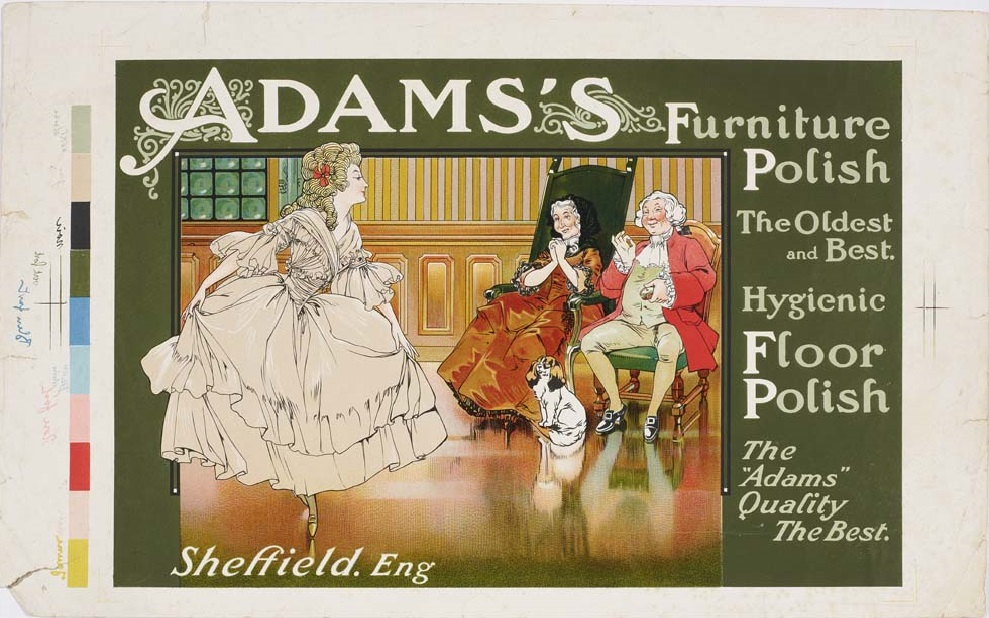Adams's Furniture polish, [c. 1900], [1 p.], 202 x 326 mm. Ten-colour chromolithography with colour tablets