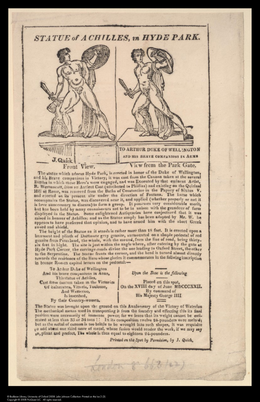 Statue of Achilles inStatue of Achilles in Hyde Park, c. 1822 Hyde Park, c. 1822