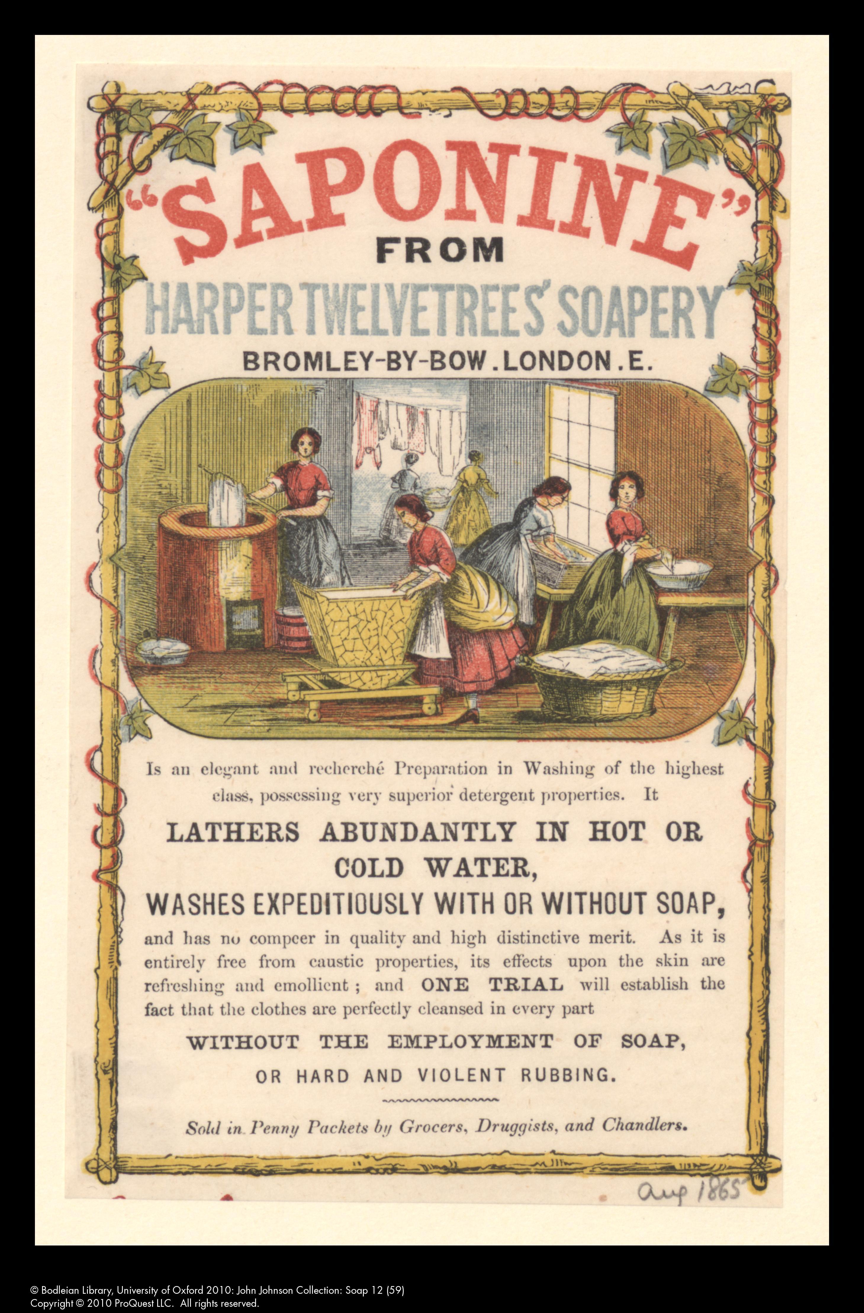 Saponine advertisement, 1865