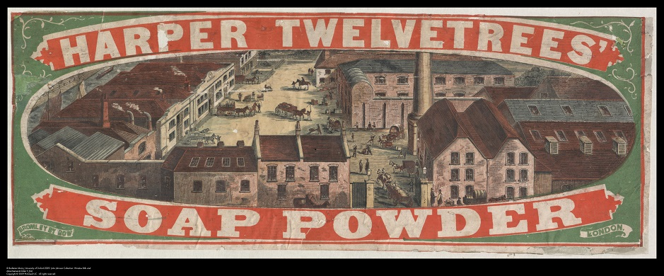 Label for Harper Twelvetrees' Soap Powder, showing his factory.