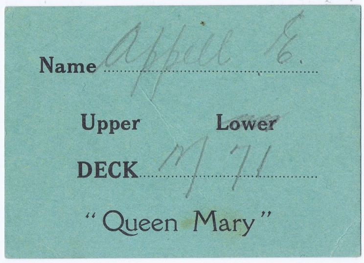 Queen Mary cabin assignment for E. Appell, recto