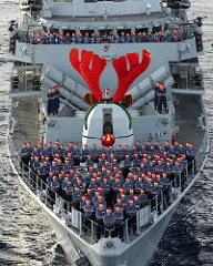 photo of HMS Lancaster dressed for Christmas