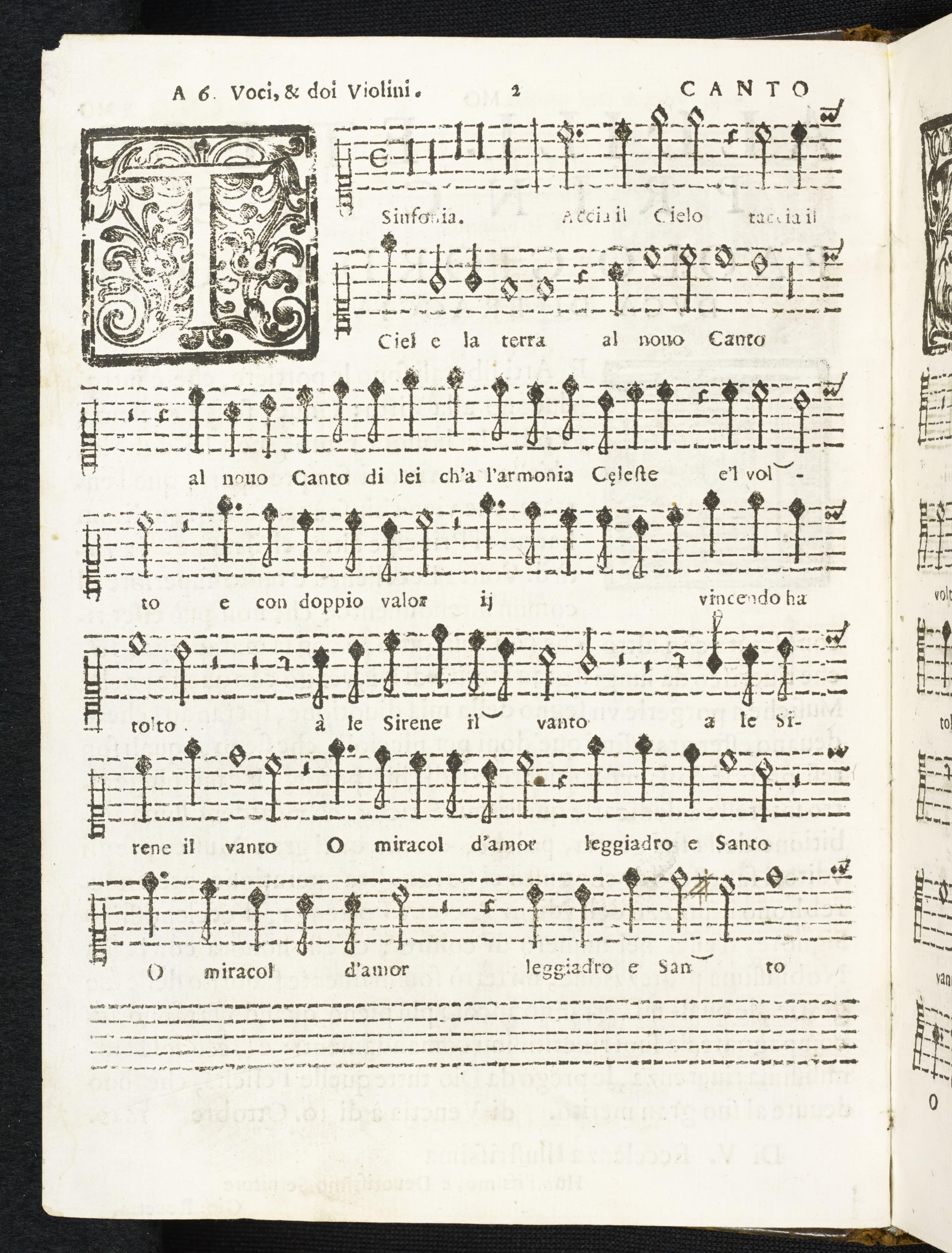 Taccio il Cielo in la Terra, Rovetta, 1629, Canto