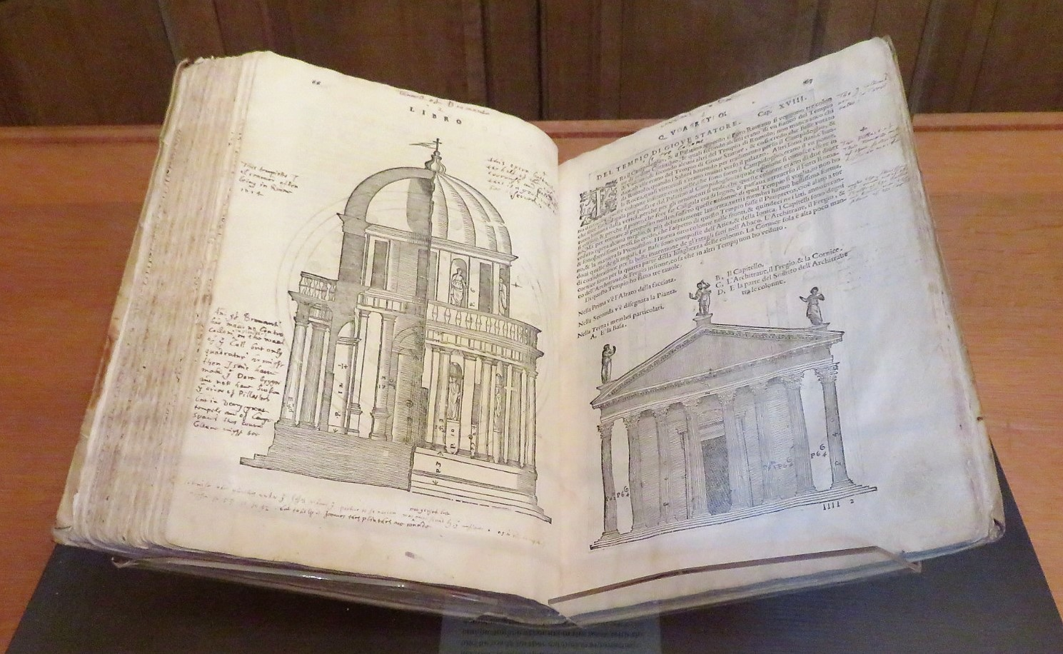 A photo of Inigo Jones' copy of Andrea Palladio's 'I Quattro Libri Dell Architettura' on display.