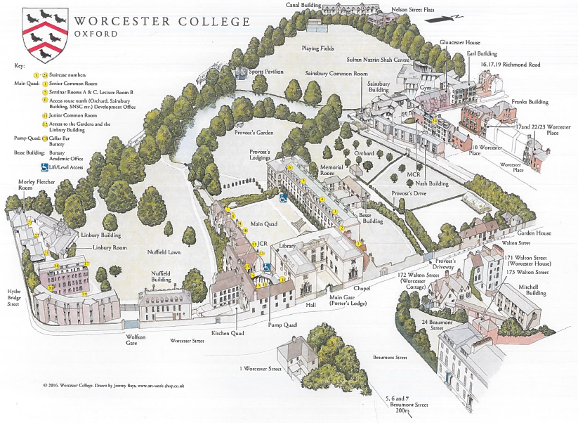 A pictorial map of Worcester College, Oxford.
