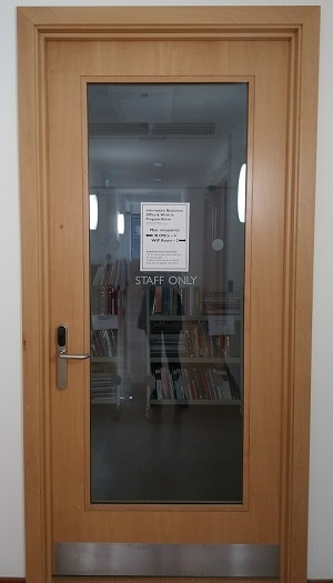 A door leading to the Information Resources office