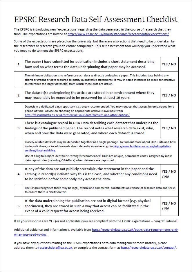EPSRC Self-assessment checklist