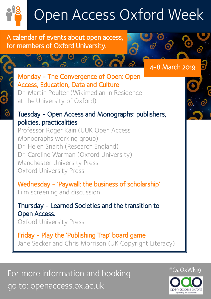 Oxford Open Access Week 2019 poster