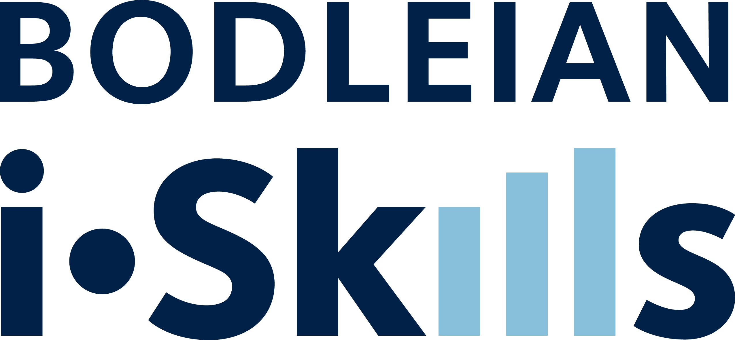 Bodleian iSkills Logo which features the words BODLEIAN iSkills in Blue text