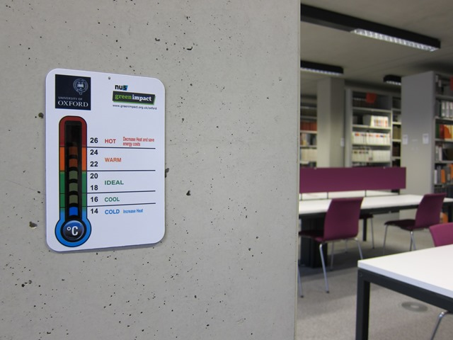 Thermometer in seating area