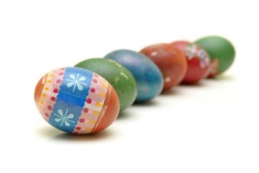 A row of brightly coloured mini Easter eggs