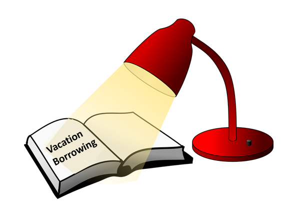 Spotlight highlighting the words Vacation Borrowing on the page of an open book