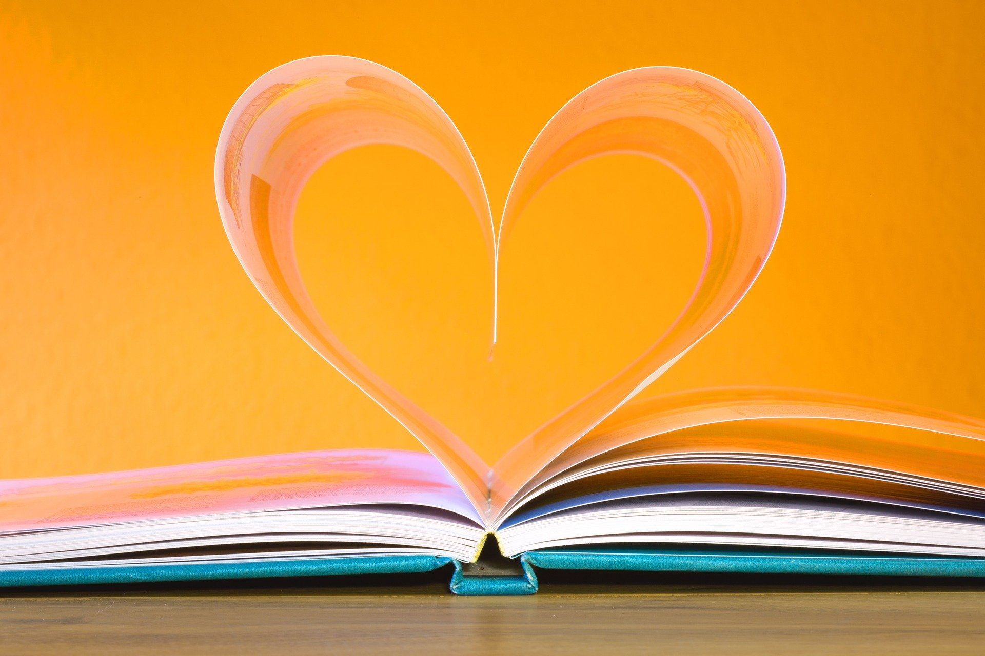 Image of an open book with the pages curled to form a love heart