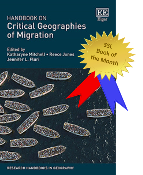 Picture of the front cover of our December Book of the month. Book titled Handbook on Critical Geographies of Migration. Cover has a blue background with image of boats filled with people