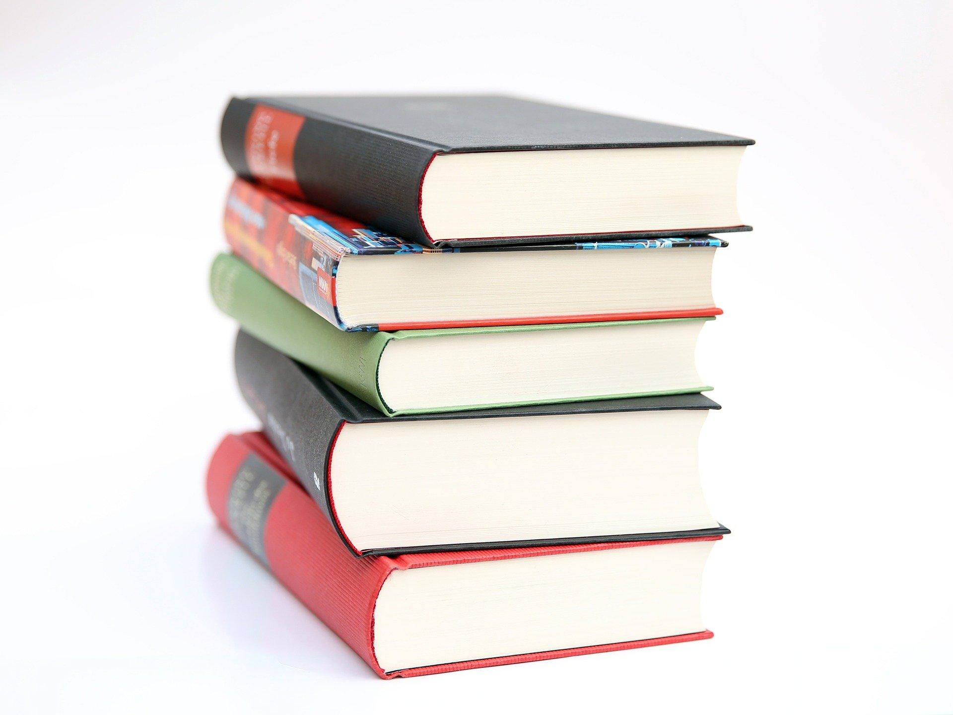 A pile of 5 colourful books