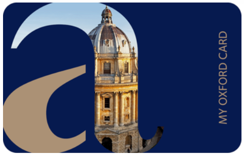 My Oxford Card. Blue background with an image of the Radcliffe Camera on it.