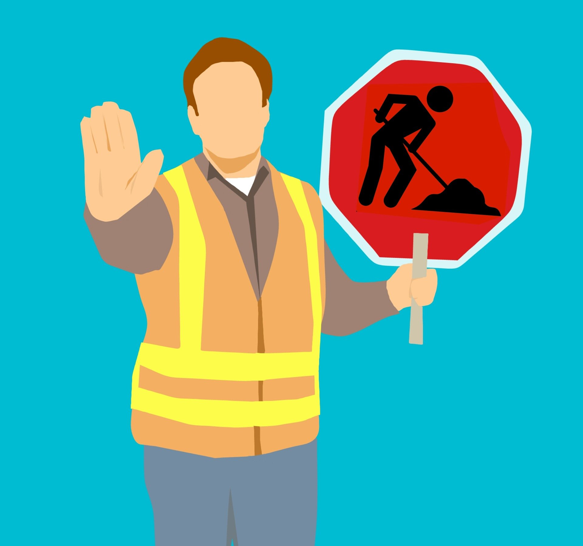 Person wearing a high-viz jacket with their hand in a stop motion, holding a 'men at work' sign