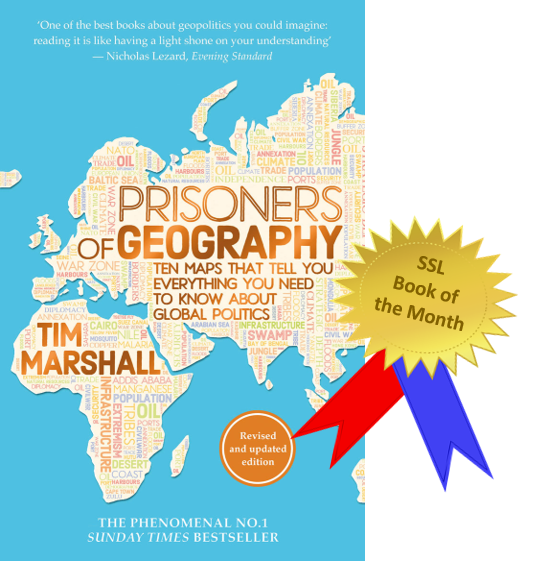 The cover of the book Prisoners of Geography by Tim Marshall. It has a blue background (to represent the sea) and part of a map of the world on top, which is filled with geographical terms.