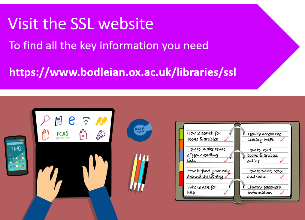 Infographic of a person using a laptop with a phone, pens and a keep cup next to them. An open notebook lists info that can be found on the SSL website. At the top are the words 'Visit the SSL website to find all the key information you need.