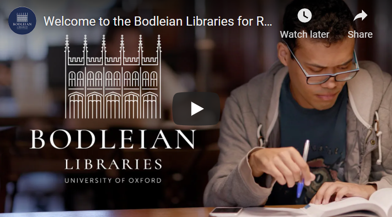 Image of a person studying in a Bodleian Library. Click on the image to access a video about the Bodleian Libraries