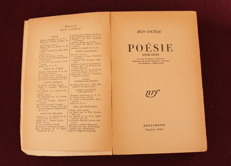 Jean Cocteau Poésie 1916-1923 (Paris: Gallimard, 1947): Cover and title page (Photo credit: James Legg)