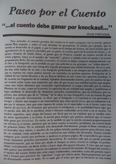 Article by Cortazar in La Chachalaca