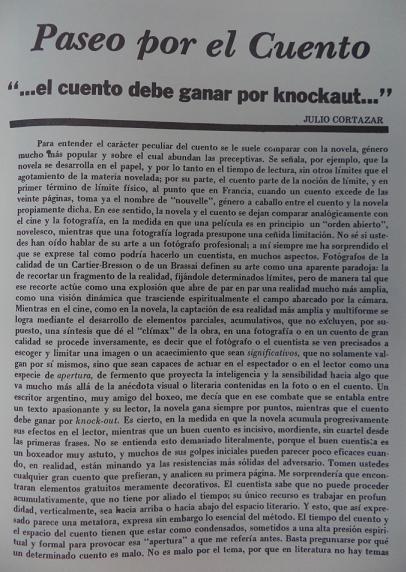 Article by Cortazar in La Chachalaca