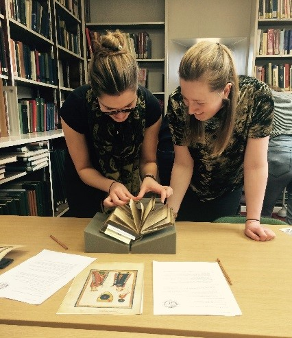 Students engaging with Taylorian collections