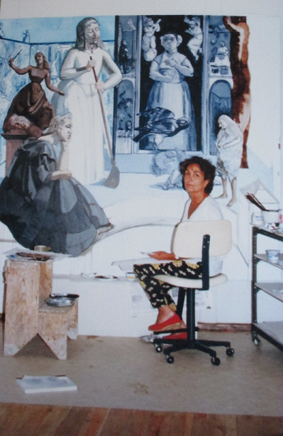 Photograph of Paula Rego painting Crivelli's Garden at the National Gallery, while Artist in Residence, 1990 (source: Nicholas Willing)
