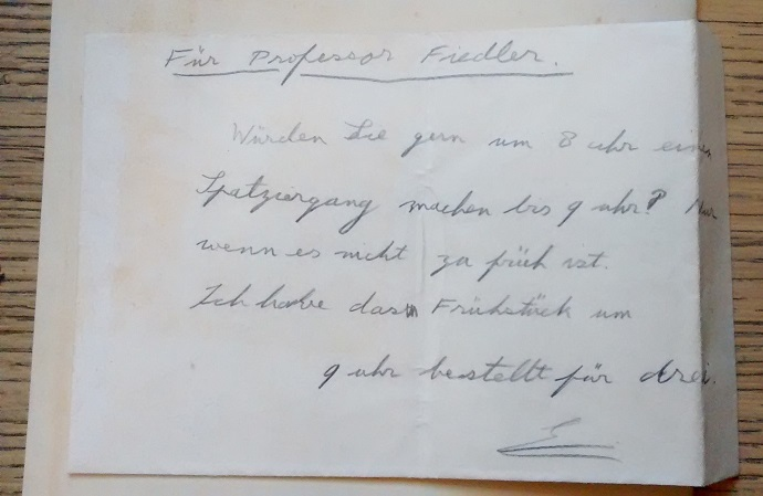 The future Edward VIII's note in German to Professor Fiedler (Taylorian MS.8o.E.19, p.43)