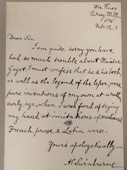 The manuscript by Swinburne (Taylorian MS.8o.E.21/B)