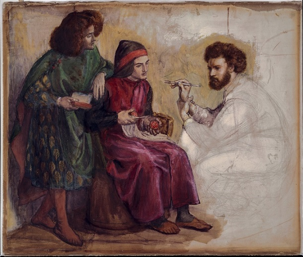Dante Gabriel Rossetti, Giotto Painting the Portrait of Dante (Harvard Art Museums/Fogg Museum, Bequest of Grenville L. Winthrop © President and Fellows of Harvard College)
