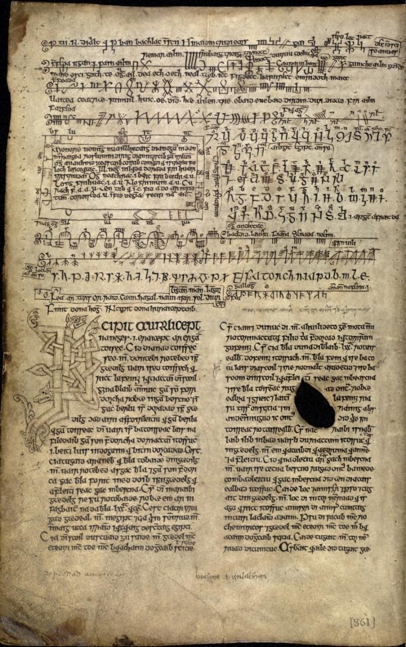 First page of the Auraicept na n-Éces from The Book of Ballymote. Dublin, Royal Irish Academy, MS. 23 p 12, F. 170r.