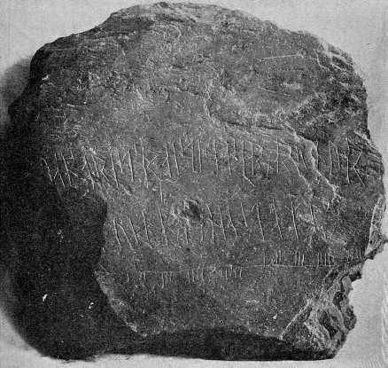 Ogham and Runic inscriptins on Maughold Stone (c. 800-899), from Kirk Maughold, Isle of Man (KERMODE, 1907, Plate LXIV).