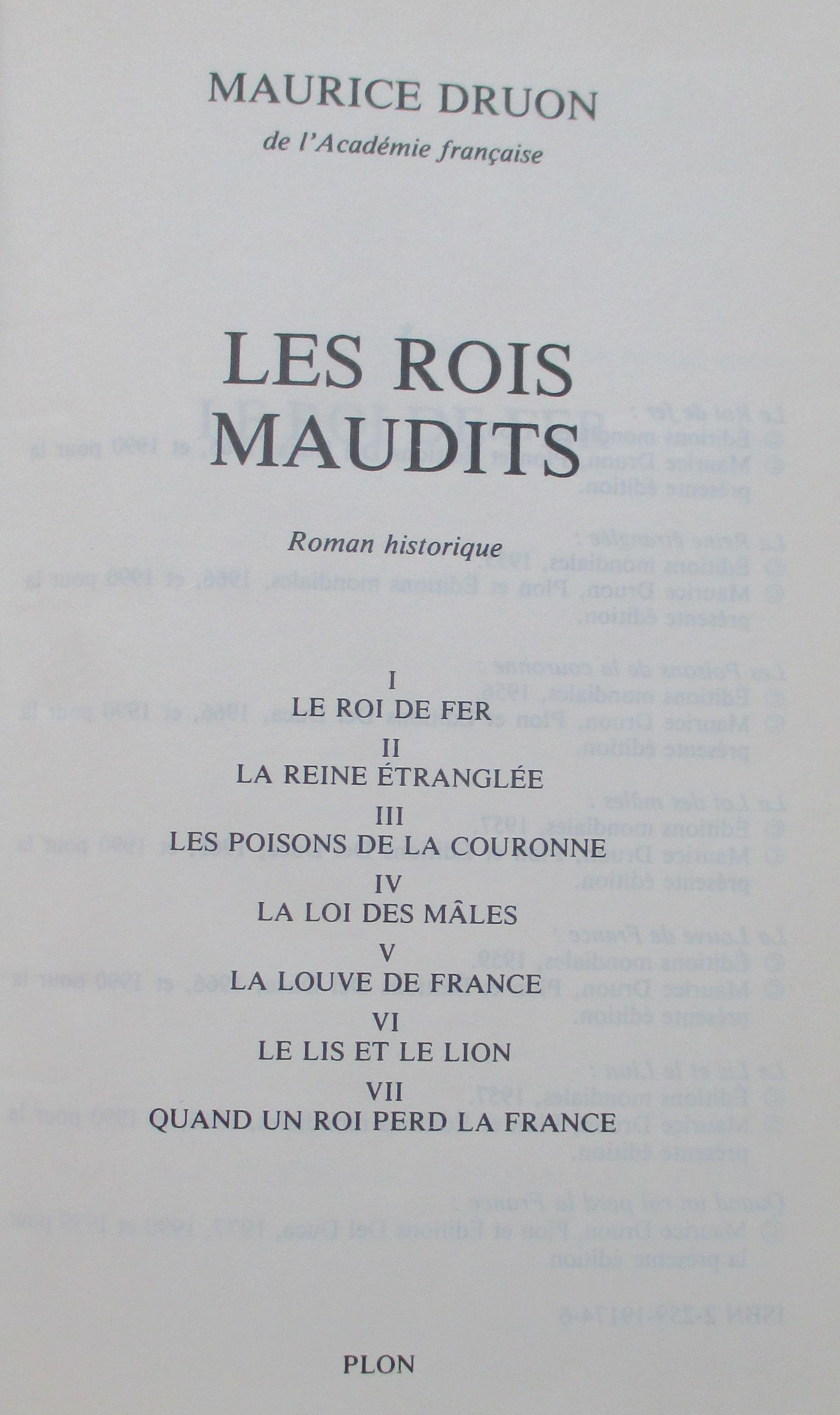 Title page of Maurice Druon, Les rois maudits