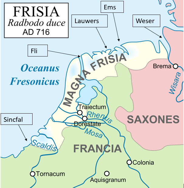 Map of Frisia in King Radbod's time, 8th century. Page URL: https://commons.wikimedia.org/wiki/File:Frisia_716-la.svg Attribution: Frankish_Empire_481_to_814-fr.svg: Sémhur, Eric.dane 800nc ex leg.jpg: RACM & TNO derivative work: Richardprins [CC BY-SA 3.0] River names added by J. Sytsema.