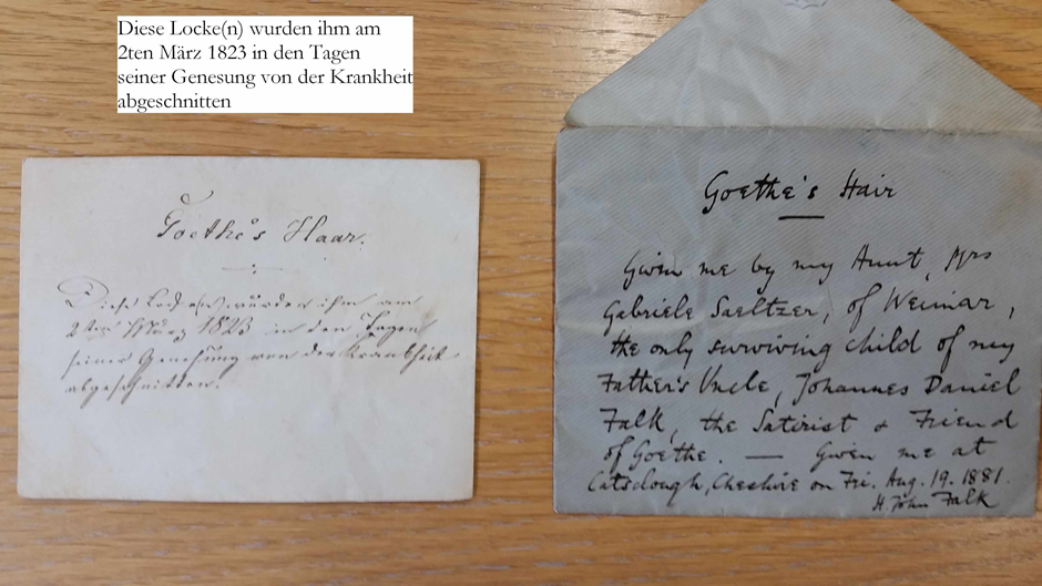 German slip (left) and English envelope (right