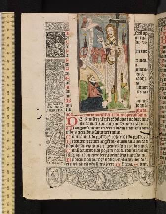 Bodleian, Gough Missals 177. Hore beatissime virginis marie ad legitimum Sarisburiensis ecclesie ritum: M.D. xxxiiii. 1534. A coloured xylographic print has been sewn to the page.