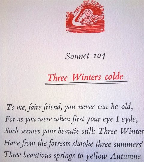 Sonnet 104, printed by Mike Pomeroy