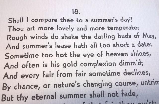 Sonnet 18 again, in modern type-face, printed by Arie Koelwyn