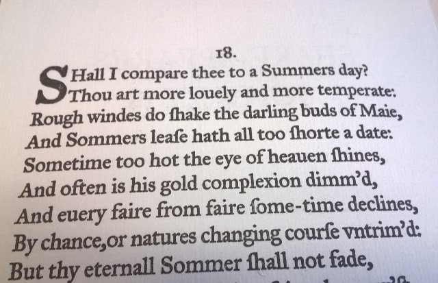 Sonnet 18, printed by  Arie Koelewyn, The Paper Airplane Press, Michigan