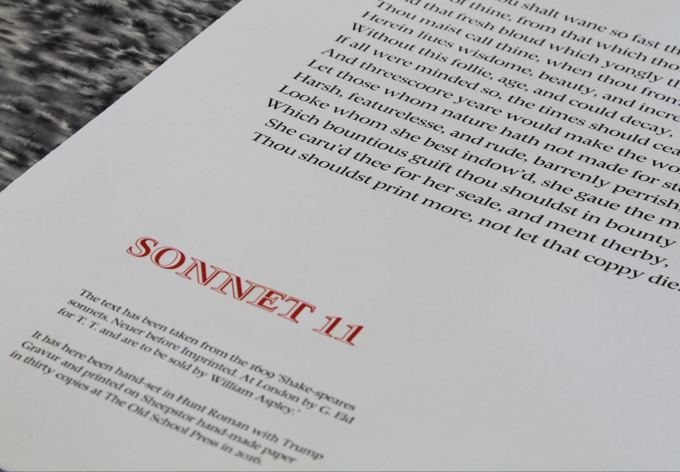 Sonnet 11., Martyn Ould, The Old School Press, Seaton, UK