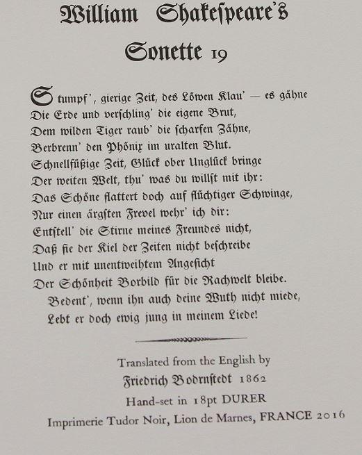 Sonnet 19, Imprimerie Tudor Noir, France